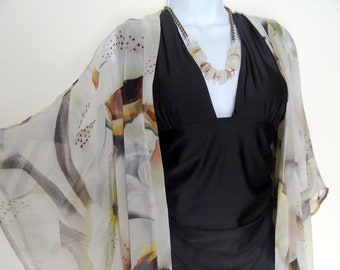 c5b0edb317 Summer Kimono - Cover Up - Neutral - Beige - Dinner Jacket - Mother of the  Bride - Silk Duster - Wedding - One Size Plus