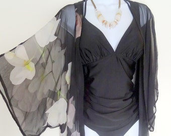 3b583b61ab Summer Kimono - Black Silk Cover Up - Orchids - Sheer Dinner Jacket - Mother  of the Bride - Silk Duster - Wedding - One Size Plus