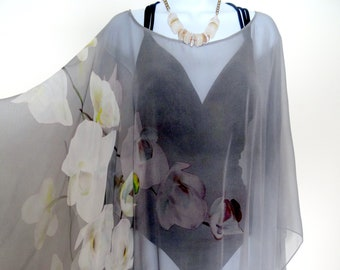 efd57a85b8 Poncho - Grey - Orchids - Sheer Silk Cover-up - 5 in 1 Versatile Silk Shirt  - One Size - Plus