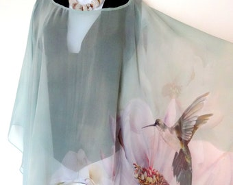 213939813f Unique Poncho - Summer Cover Up - Hummingbird - Peony Silk Poncho - Mint  Green - Wedding - Mother of the Bride - ONE SIZE PLUS