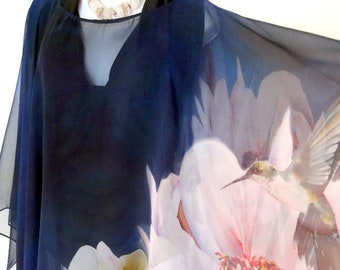 bd92128112 Unique Poncho - Summer Cover Up - Hummingbird - Peony - Blue Silk Poncho -  Sheer - Wedding - ONE SIZE PLUS