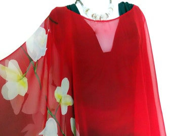 4f4fd0a374 Beach Cover Up - Red Silk Poncho - Cover Up - Sheer -Impressionist Painting  - Wedding - ONE SIZE PLUS