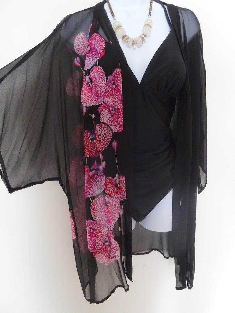 d94f5222ed Summer Kimono Beach Cover Up Black Sheer Silk Dinner | Etsy