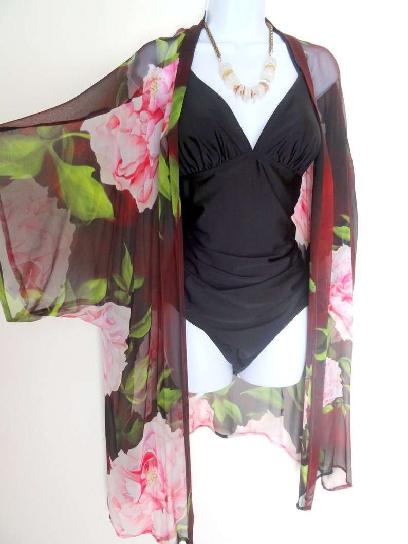 ef9fbd027a Summer Kimono Peony Cover Up Silk Duster Dinner Jacket | Etsy