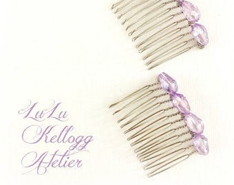 GLAMOUR HAIR COMBS in Lavender