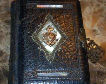 Life of Jesus Miniature Leather Book, Mother of Pearl and 14K Gold Bleeding Heart Inlay