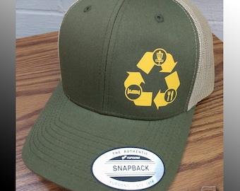 d0f9e4dcb6c Recycled Disc Golf - FlexFit   Yupoong Brand Snap Back Cotton Polyester Hat  Trucker Cap - Anhyzer Designs Original