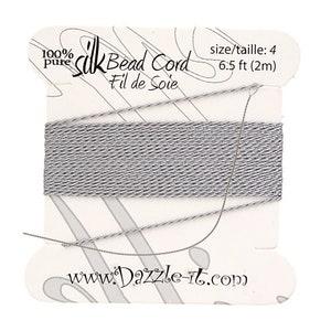 Silk Bead Cord Silk Silk Cord Beading Thread Silk Embroidery Pure Silk Thread Embroidery Thread White Silk Thread with 0.60mm Needle