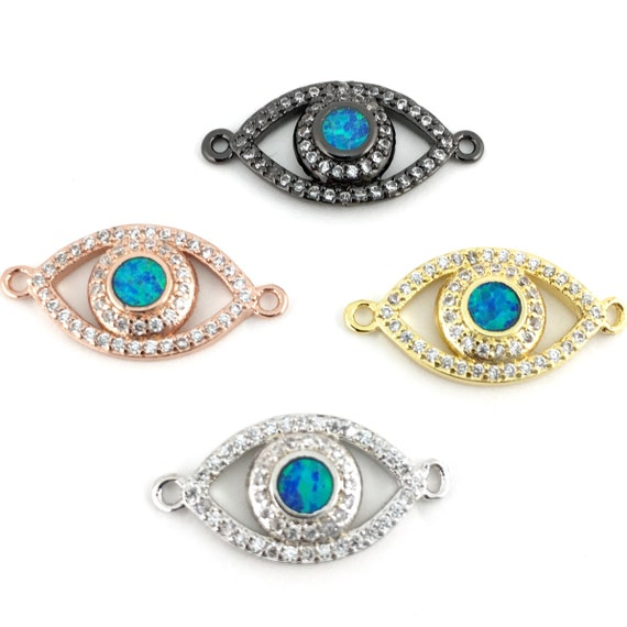 e999746d024b3 Abalone Open Evil Eye CZ Pave Connector, Gold/ Rose Gold/ Silver/ Gunmetal,  Canadian Supplier, Bulk Buy
