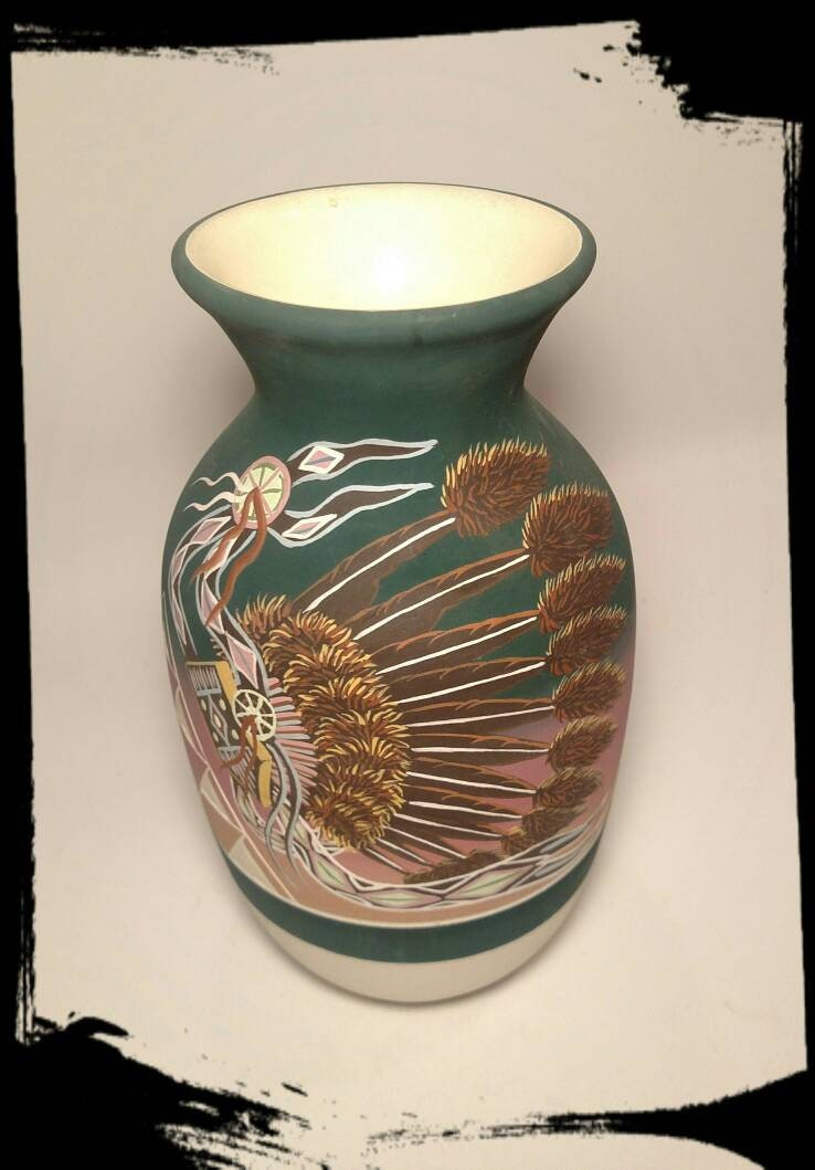 Collectible Lakota Art Pottery Signed R Underbaggage Native
