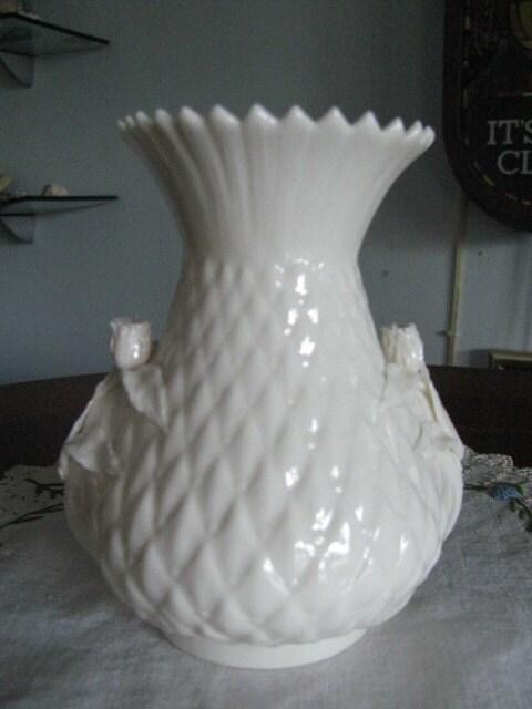 Vintage Belleek Porcelain Vase Milky White Vase With Roses Irish