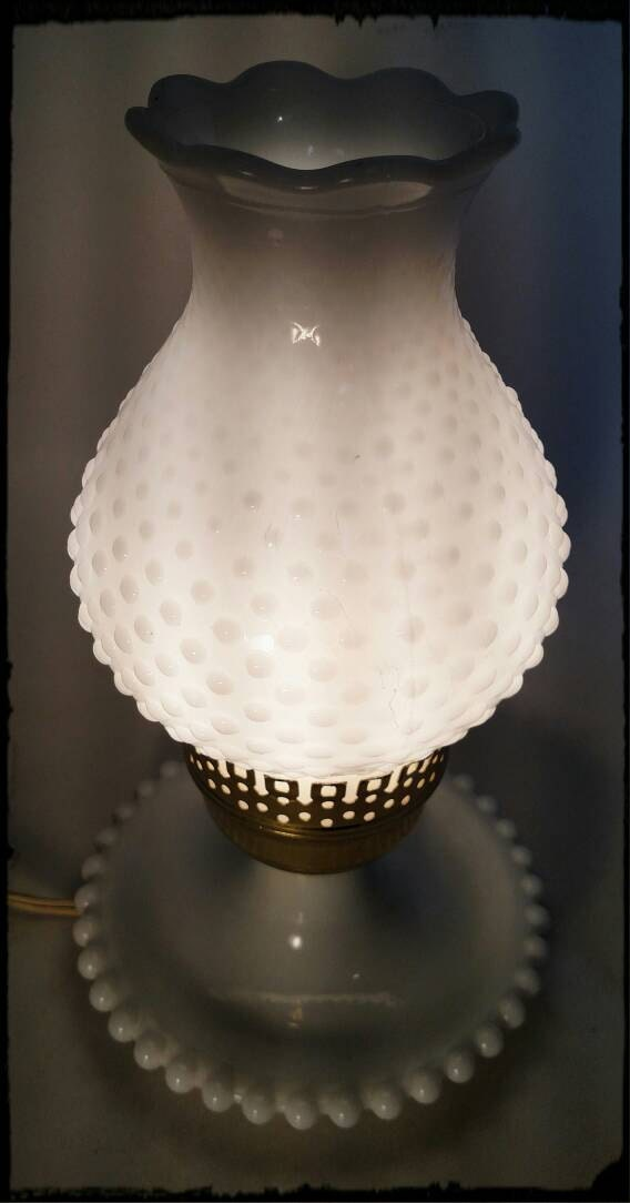 Vintage Lamp Milk Glass Hobnail Hurricane Chimney Accent