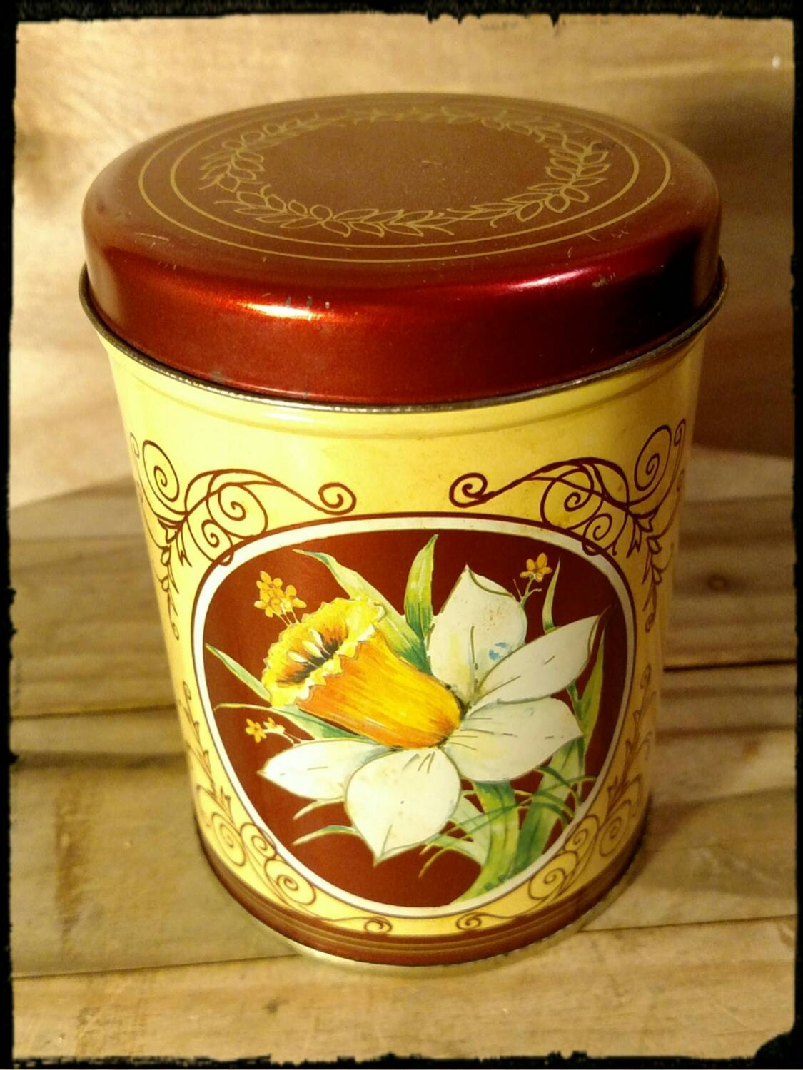Collectible Floral Lithographed Tin Round Yellow Tin With Red Trim