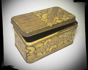 Vintage E F Kemp Golden Glow Shops Salted Mix Nuts Tin/ Boston Mass Tin/Colelctible Tin/Storage Tin/Gift Tin/Best Gift Idea /F1545