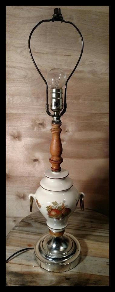 Vintage Painted Ceramic Kitchen Table Lamp with Wood Shaft ...