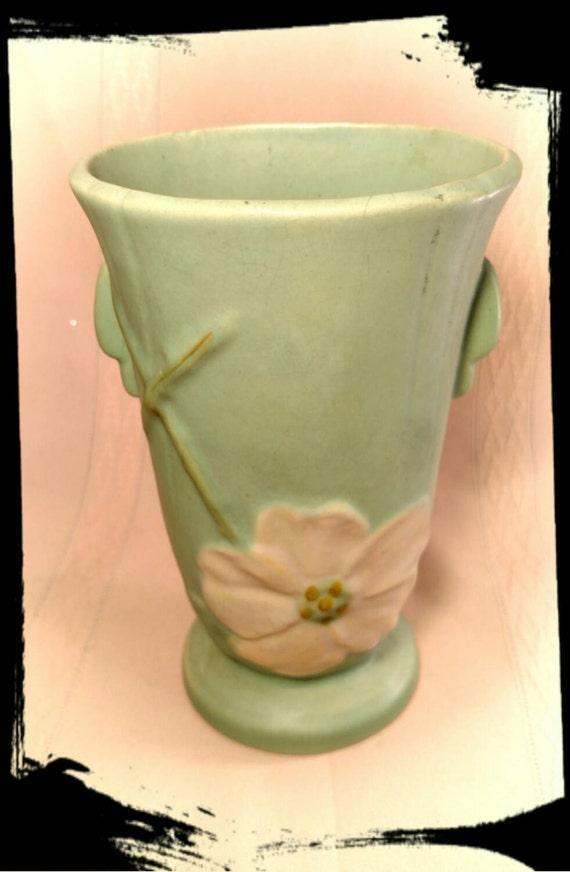Antique Weller Wild Rose Vase Signed M Ugz Teal Blue Vase Etsy