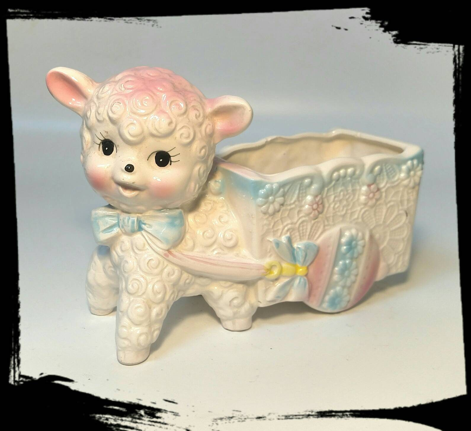 Vintage Big Eyes Nursery Ceramic Lamb Planter Collectible Lamb Planter Baby Room Decor F1953