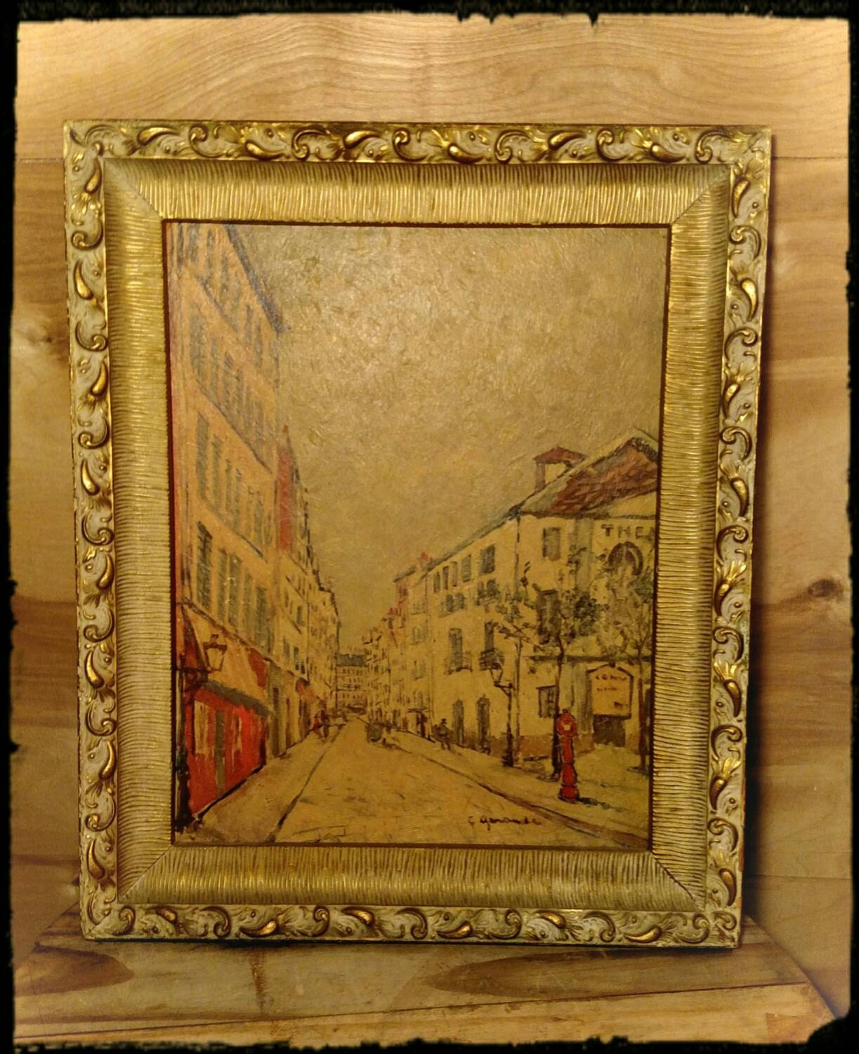 Vintage Painting Oil on Board of City Scene / Signed Art / Oil ...