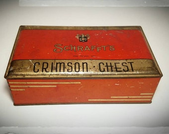 Vintage Schraffts Crimson Chest Candy Tin/ Collecible Candy Tin / Storage Box / Treasure Chest/Bonbonniere Tin/Gift Tin/Best Gift Idea/ F920