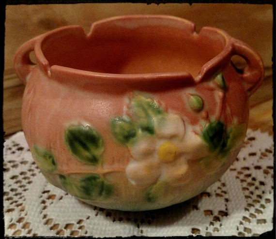 Antique Roseville Pottery Apple Blossom White Rose Bowl Etsy