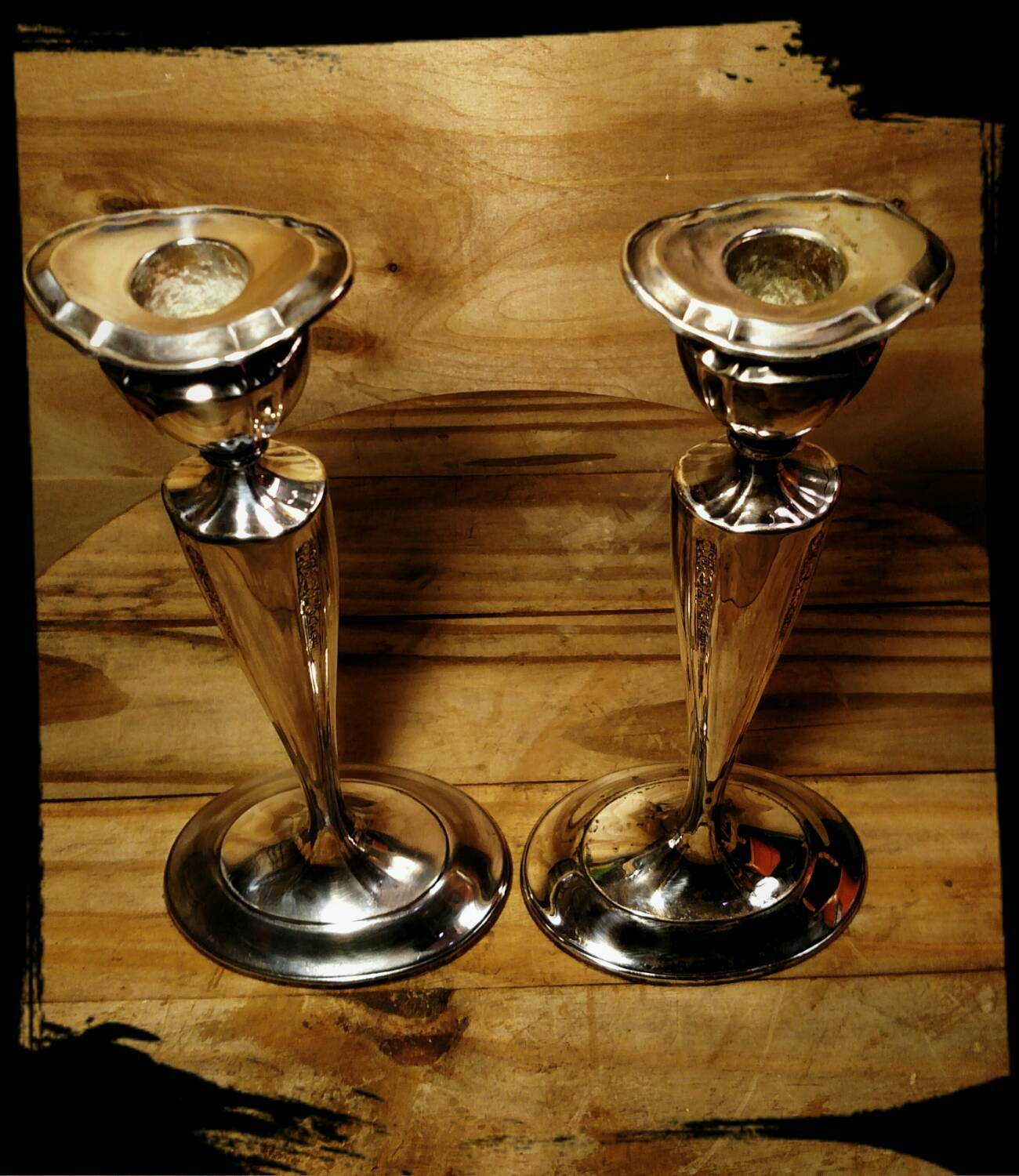 Antique 1847 Rogers Bros Silver Plated Candlestick Holders