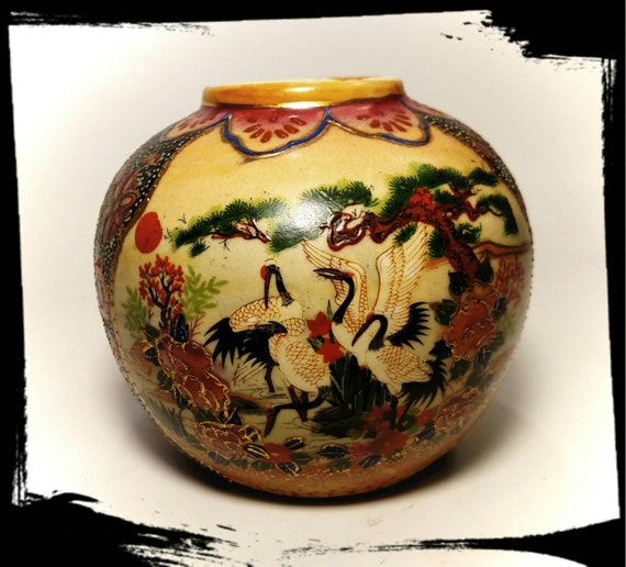 Collectible Chinese Ginger Jar With Storks Made In China Jar Etsy