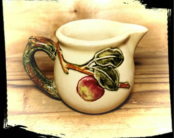 Antique Weller Zona White Creamer/Weller Pottery /Weller Zona Small Pitcher/Creamer with Apples / Weller Zona Pottery 1920's - 1930's/ F1040
