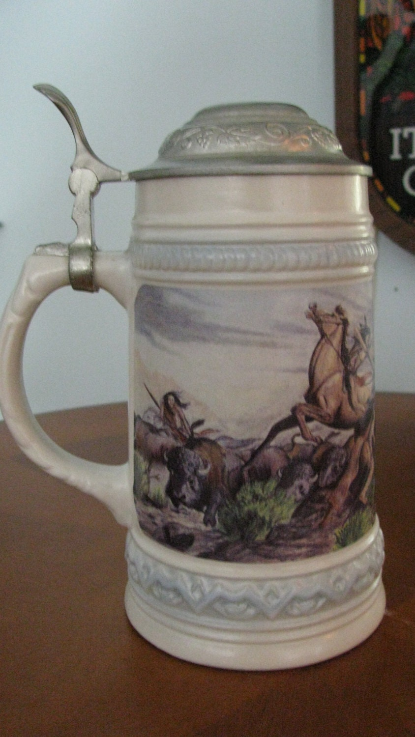 Vintage Gerz Stein 0.5 L with Pewter Lid with Early Native ...