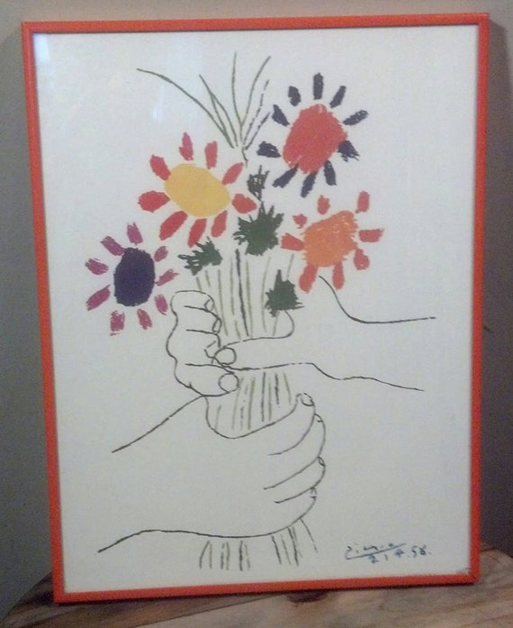 Vintage Picasso Bouquet Of Peace Framed Print Hand With Etsy