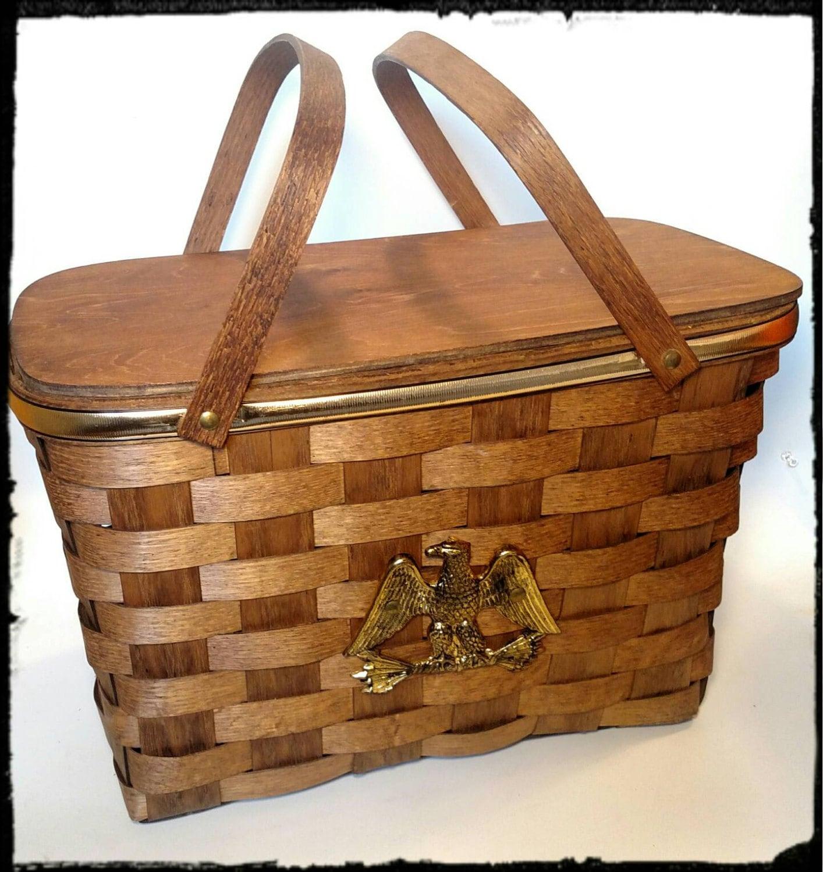Vintage Basketville Picnic Basket Bicentennial Celebration/ Wood ...