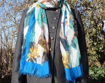 TROPICAL SCARF - viscose scarf - cotton pareo - womens accessories scarves - fashion - cocktail style - soft cosy long scarf blue white