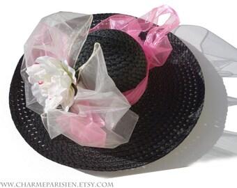 059165d60ae1d SOMBRERO negro con peonía blanca lazo blanco rosa cinta - Kentucky Derby 9  - sol sombreros para mujer accesorios verano paja sombrero ancho tejido -  Paris ...