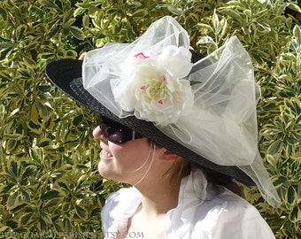 d934a47c7e9 Black HAT with white peony white bow white ribbon - Kentucky Derby 4 - sun  hats womens accessories summer straw woven wide hat - retro Paris
