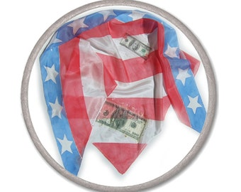 AMERICAN FLAG Scarf - Patriotic silk scarf - hand painted on ponge - women accessories scarves - spring office fashion - elegant USA dollar