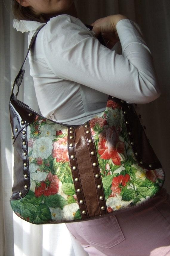 diaria faux cuero Decoupage bolsa Chic Etsy Shabby bolsa TwABB8 84bb874fac06