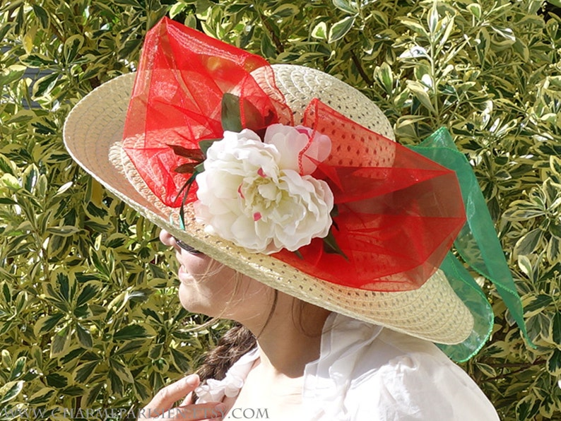 retro Paris Summer HAT with white peony red green fashion straw woven wide hat with flowers Derby 3 sun hats womens accessories