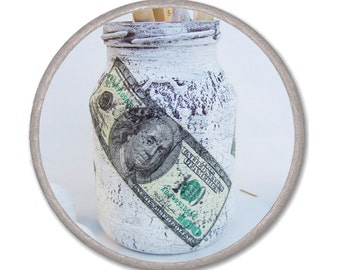 WHITE PENCIL HOLDER - 100 dollar bill - decoupage brown cracelures - Housewares - shabby chic jar - office decor - gift for him