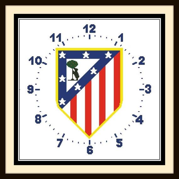 PDF Gráfico Punto de Cruz Reloj Atlético de Madrid Cross | Etsy