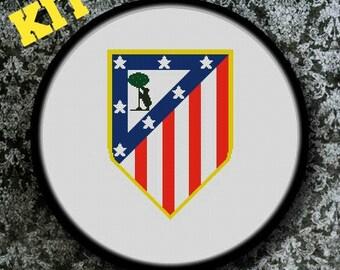 KIT Cross Stitch Chart,  Atletico Madrid Football, Cross Stitch KIT