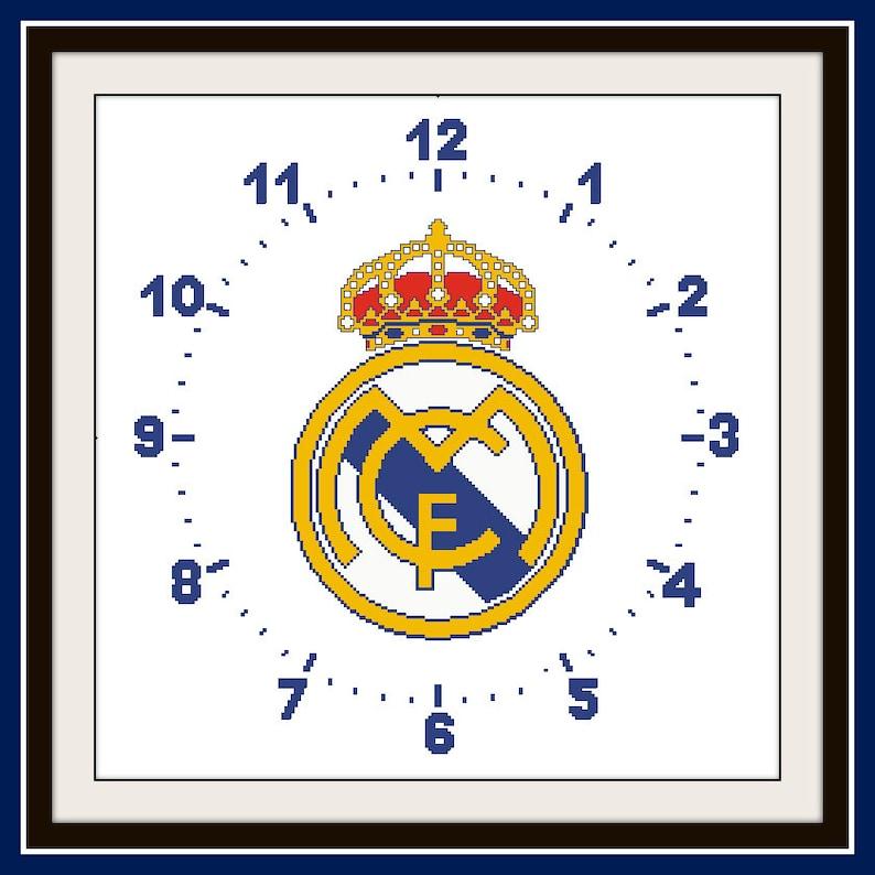 PDF Gráfico Punto de Cruz Reloj Real Madrid Cross Stitch  7f01a4cfef4