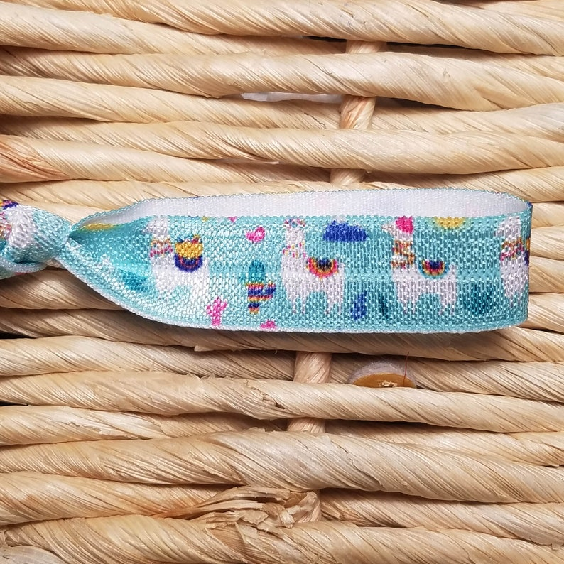 Blue Llama Hair Ties Wedding Party Hair Ties LLAMA Print Hair Tie Set Llama Hair Tie Favor 4 Boho Llama Hair Ties Llama Print Hair Tie
