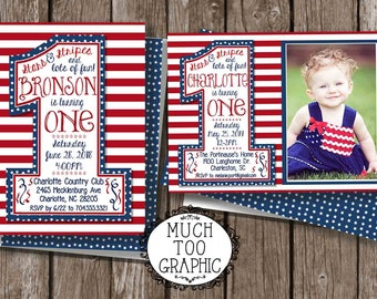 Memorial Day Birthday Invitation 4th of July Our Little Firecracker First Birthday 1st Birthday Stars Stripes w or w/o photo