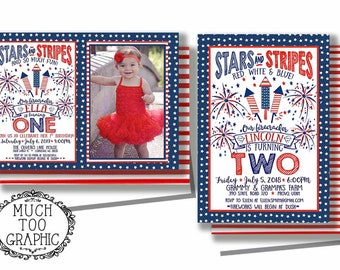 Memorial Day Birthday Invitation 4th Of July Our Little Firecracker First Fireworks 1st 2nd 3rd Stars Stripes W Or O Photo