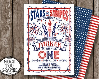 Memorial Day Birthday Invitation 4th of July Our Little Firecracker First Birthday Fireworks 1st 2nd 3rd Stars Stripes w or w/o photo