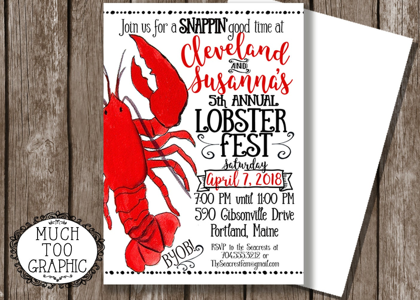Lobster Fest Invitation Lobster Back Invitation Rehearsal | Etsy