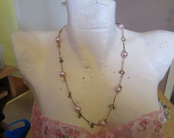 "vintage 24""long necklace with assorted pastel pink faux pearls/silvertone tags/bars"