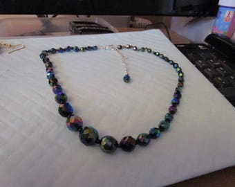 "vintage graduated AB necklace 16""long extends 3"",small beads in between new extension has been added"
