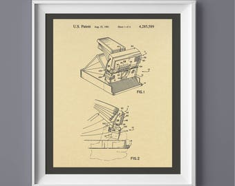 Vintage Polaroid Camera Patent Print, Vintage Camera Poster, Printable Art, Printable Poster,  INSTANT DOWNLOAD