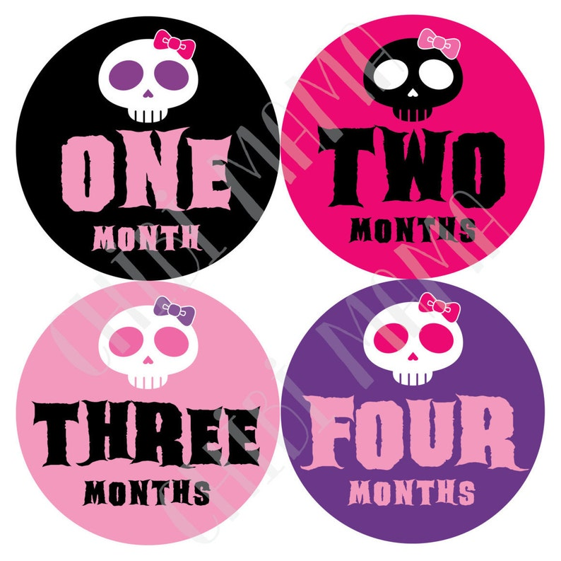 Free Shipping to US Cute Goth Baby Monthly Stickers Kawaii image 0