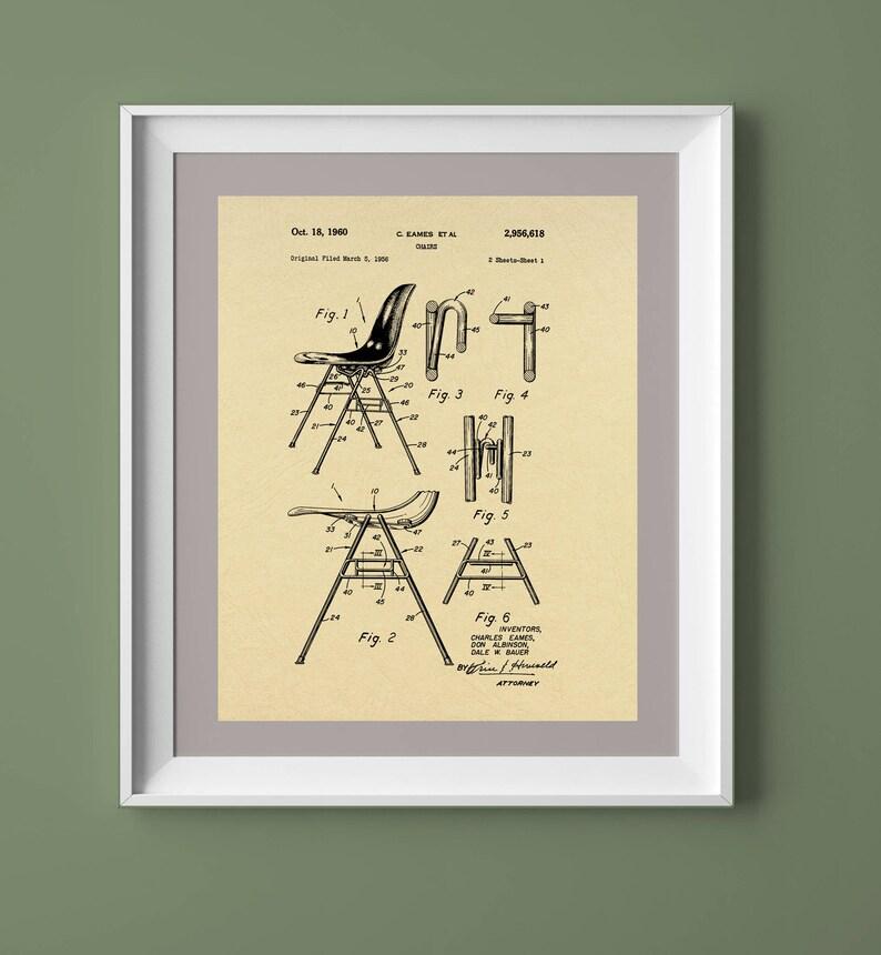Vintage Eames Chair Patent Print Vintage Printable Vintage image 0